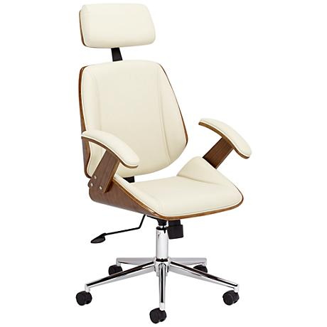 Tatulli Modern Cream Faux Leather Office Chair