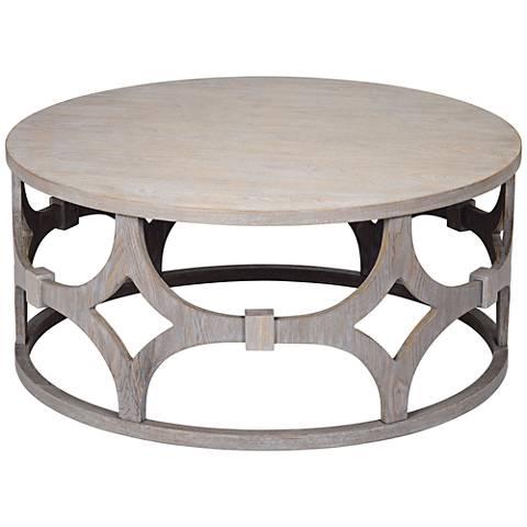 "Lanini Gray Wash 39 1/4"" Wide Round Coffee Table"