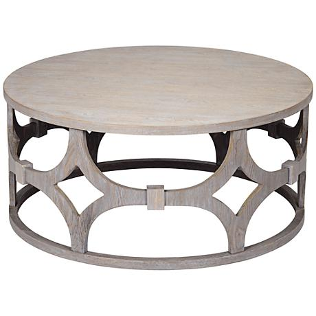 lanini gray wash round coffee table 1p608 lamps plus