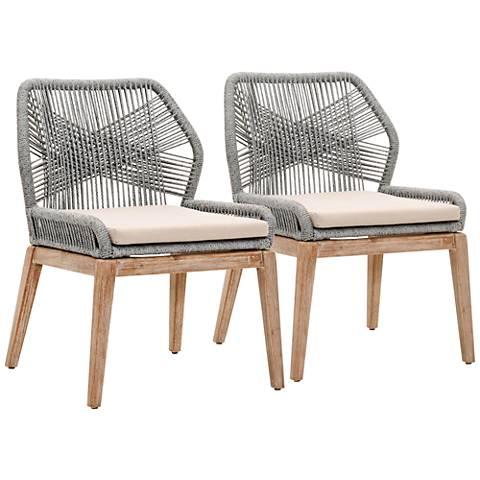 New Wicker Loom Mahogany Platinum Rope Dining Chair Set of 2