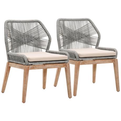 New Wicker Loom Mahogany Platinum Rope Dining Chair Set Of