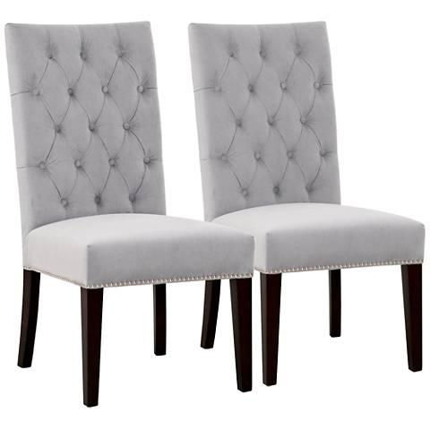 Villa Uptown Fog Velvet Dining Chair Set of 2