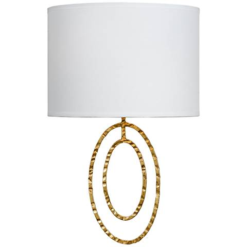 """Crystorama Jolie 13""""H 2-Ring Hammered Gold Wall Sconce"""