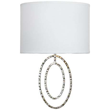 """Crystorama Jolie 13""""H 2-Ring Hammered Silver Wall Sconce"""