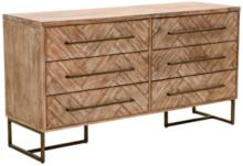 Traditions Mosaic Stone Wash Wood 6-Drawer Double Dresser