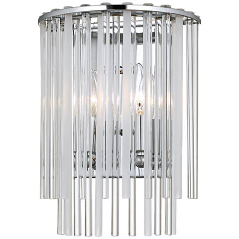 "Crystorama Bleecker 12""H Chrome Frosted Glass Wall Sconce"