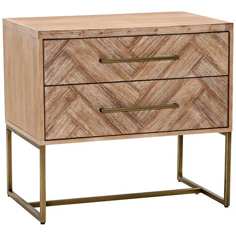 Traditions Mosaic Stone Wash Wood 2-Drawer Nightstand