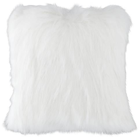 """Fox White 18"""" Square Plush Faux Fur Pillow"""
