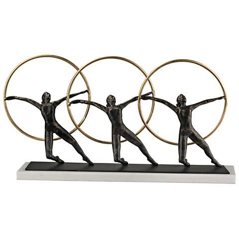"Ring Dancer Bronze Cast Iron 20"" Wide Decorative Statue"