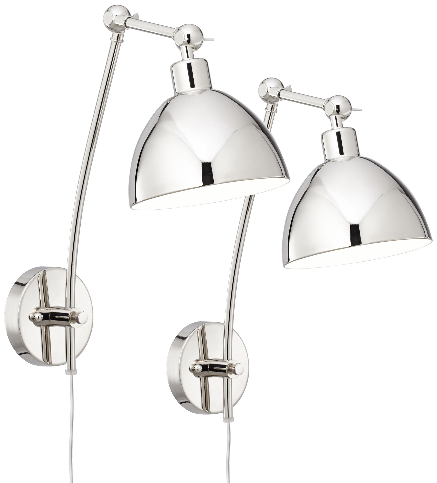 delon chrome adjustable plugin wall lamp set of 2
