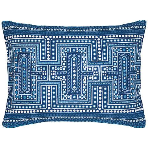 """Salt Air Multi-Color 16"""" x 12"""" Blue Cotton Accent Pillow"""