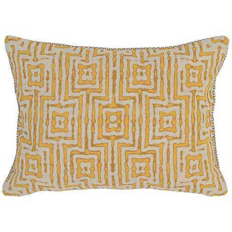 "Resort Yellow 20"" x 14"" Tropical Fabric Accent Pillow"