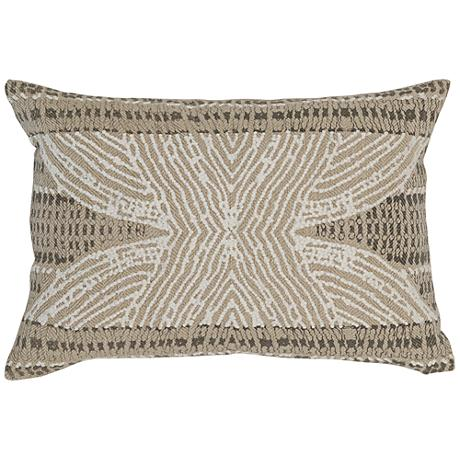"""Resort Natural 20"""" x 14"""" French Knot Embroidered Pillow"""