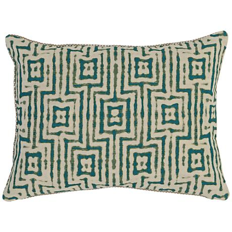 "Resort Turquoise Print 20"" x 14"" Fabric Accent Pillow"