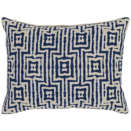 "Resort Indigo 20"" x 14"" Textured Fabric Accent Pillow"