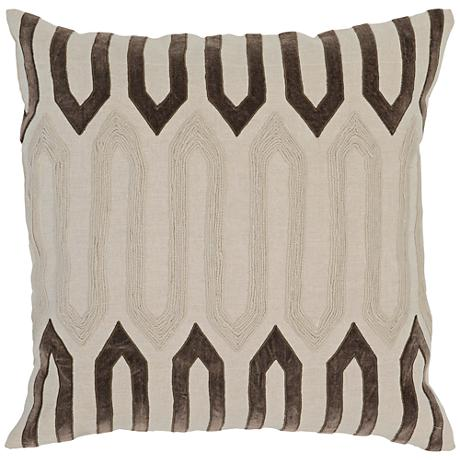 """Modern Chic Brown 22"""" Square 3-Tone Linen Accent Pillow"""