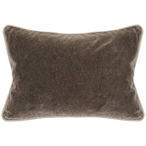 "Grandeur Chocolate 20"" x 14"" Cotton Velvet Accent Pillow"