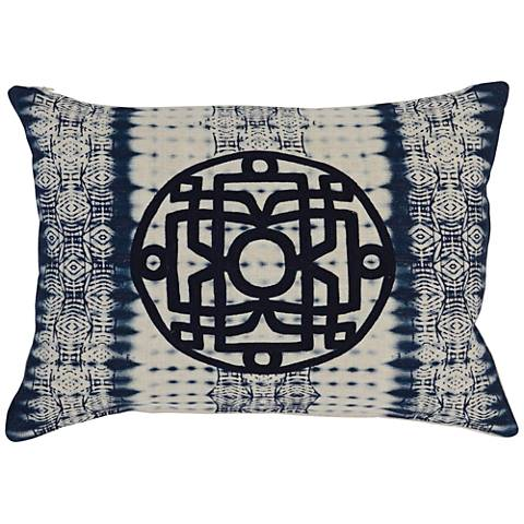 "Resort Indigo Print 20"" x 14"" Linen Decorative Pillow"