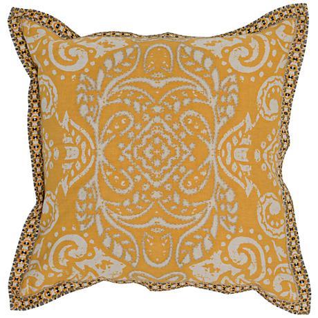 "Resort Yellow-Orange 18"" Square Hand-Printed Throw Pillow"