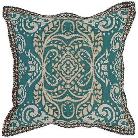 "Resort Turquoise 18"" Square Hand-Printed Throw Pillow"