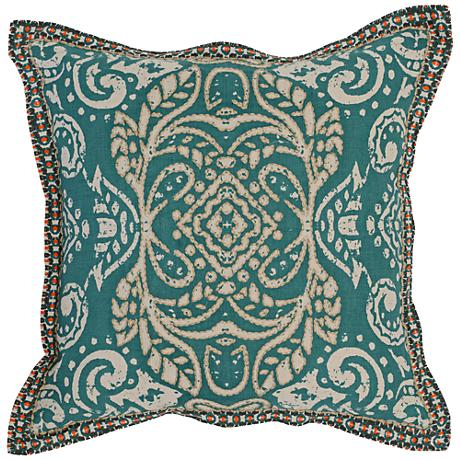 """Resort Turquoise 18"""" Square Hand-Printed Throw Pillow"""