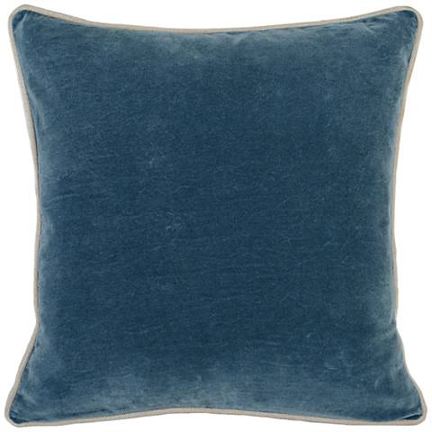 "Grandeur Marine18"" Square Cotton Velvet Accent Pillow"
