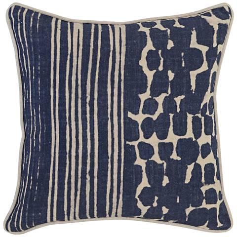 "Resort Indigo Print 18"" Square Linen Decorative Pillow"