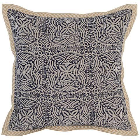 "Resort Indigo 18"" Square Block Print Linen Accent Pillow"