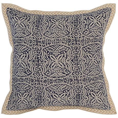 "Resort Indigo 18"" Square Block Print Linen Accent Pillow"