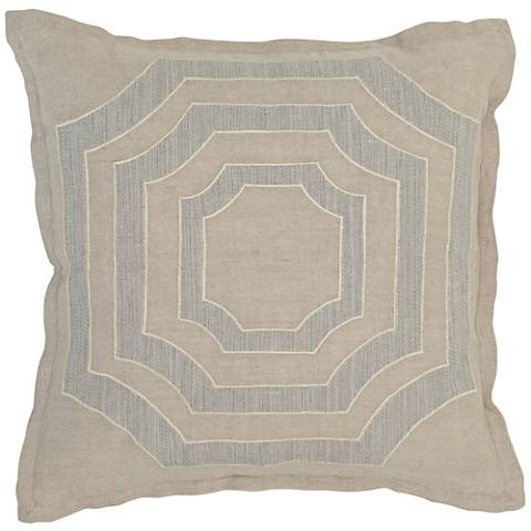 """Modern Chic 3-Tone Brown 18"""" Square Linen Accent Pillow"""