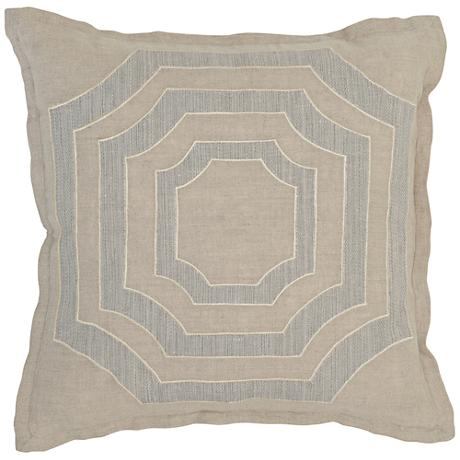 "Modern Chic 3-Tone Brown 18"" Square Linen Accent Pillow"