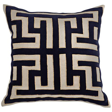 "Royal Folk Indigo 18"" Square Velvet Decorative Pillow"