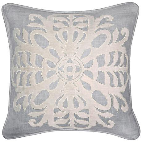 """Salt Air Ivory 18"""" Square Velvet Applique Cotton Pillow"""