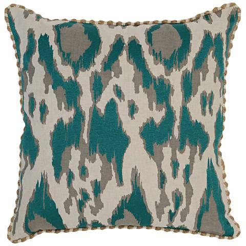 "Resort Aqua 22"" Square Hand-Printed Decorative Pillow"
