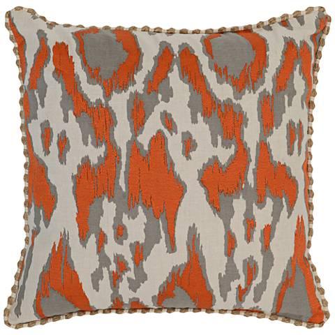 "Resort Orange 22"" Square Hand-Printed Decorative Pillow"