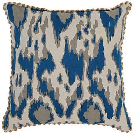 "Resort Navy Blue 22"" Square Hand-Printed Accent Pillow"
