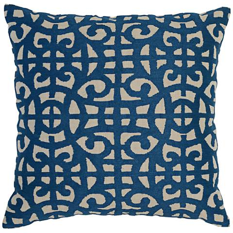 """Resort Deep Sea Blue 22"""" Square Embroidered Accent Pillow"""