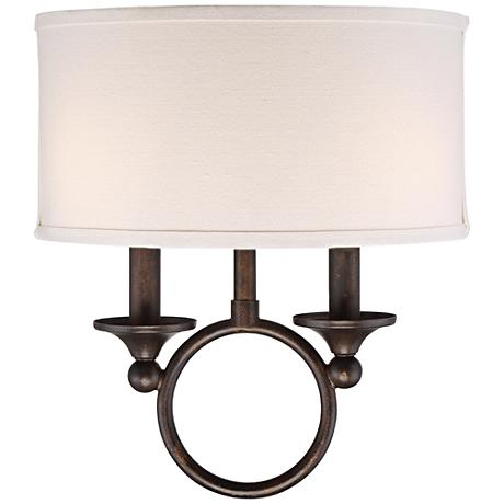 """Quoizel Adams 13 1/2"""" High Leathered Bronze Wall Sconce"""