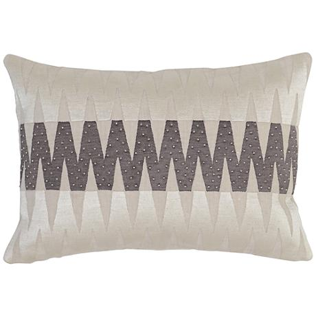 "Modern Chic Gray 20""x 14"" Geometric Beaded Accent Pillow"