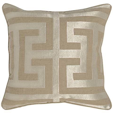 """Jubilee Pearl 22"""" Square Metallic Gold Accent Pillow"""