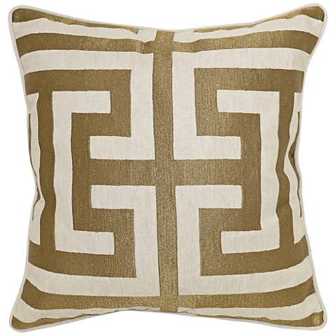"Royal Folk Bronze 22"" Square Metallic Embroidered Pillow"