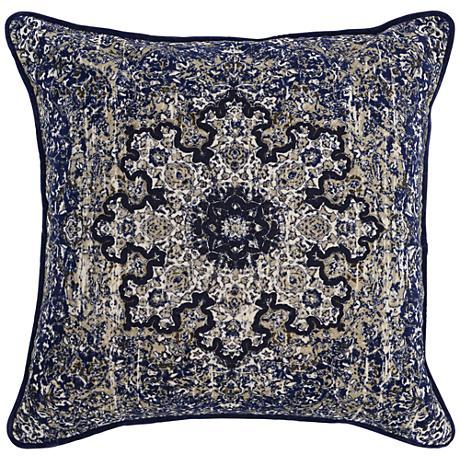 "Resort Indigo Print 22"" Square Cotton Velvet Throw Pillow"