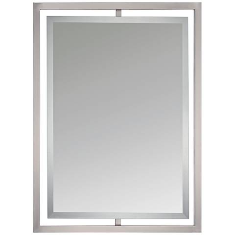 "Quoizel Marcos Nickel 24"" x 32"" Floating Wall Mirror"
