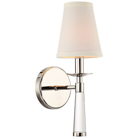 "Crystorama Baxter 12"" High Glass Stem Nickel Wall Sconce"