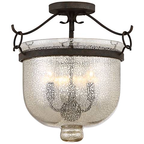 "Quoizel Burgess 15"" Wide Rustic Black Ceiling Light"