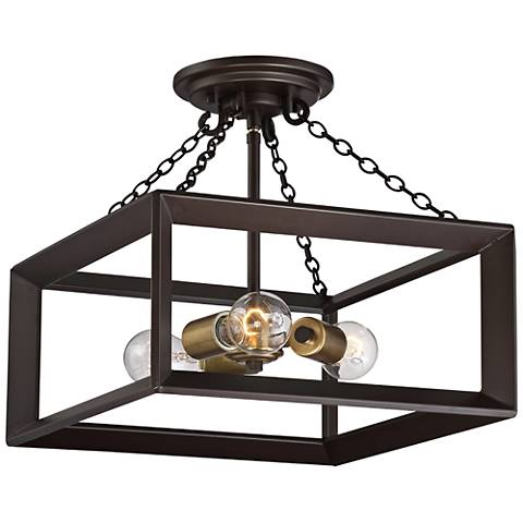 "Quoizel Brook Hall 14"" Wide Western Bronze Ceiling Light"