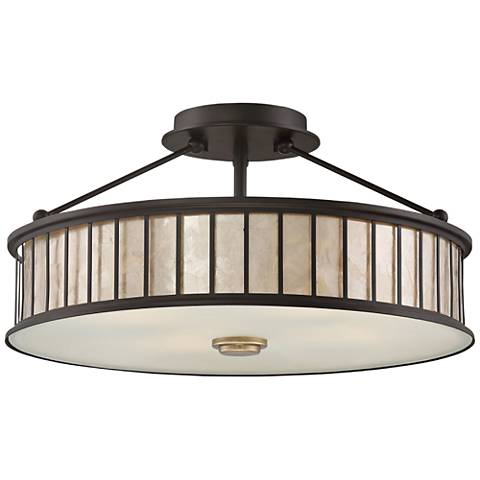 "Quoizel Belfair 17"" Wide Western Bronze Ceiling Light"