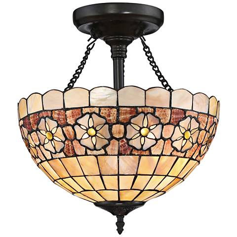 "Sea Shell Collection Sanibel 14"" Wide Bronze Ceiling Light"