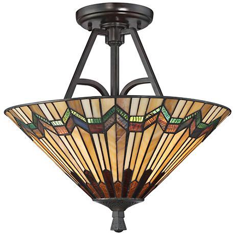 """Quoizel Alcott 16"""" Wide Valiant Bronze Ceiling Light"""