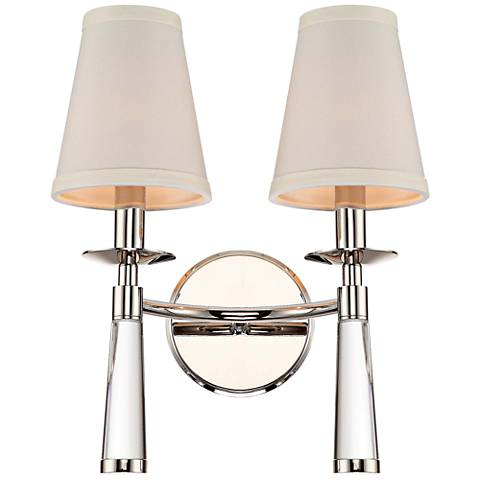 "Crystorama Baxter 12""H Nickel 2-Light Glass Wall Sconce"